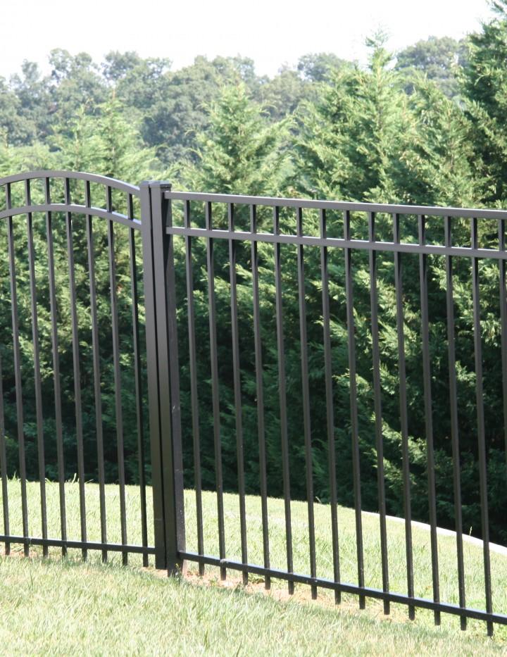 black aluminum fence