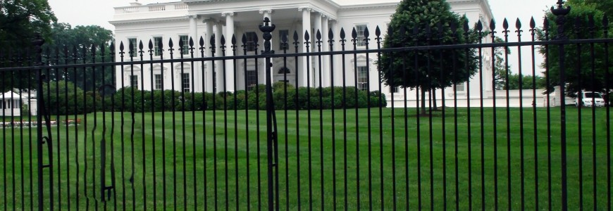 aluminum fencing in front of white house